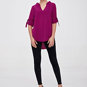 6693d28cc6 roswear Women s Casual V Neck Cuffed Sleeves Solid Chiffon Blouse ...