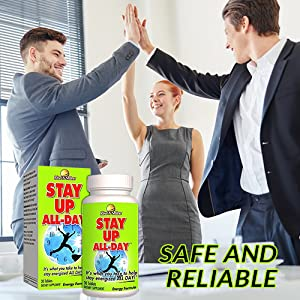 Stay Up All Day Natural Energy Pills Energy Booster Supplement with Natural  Caffeine, B