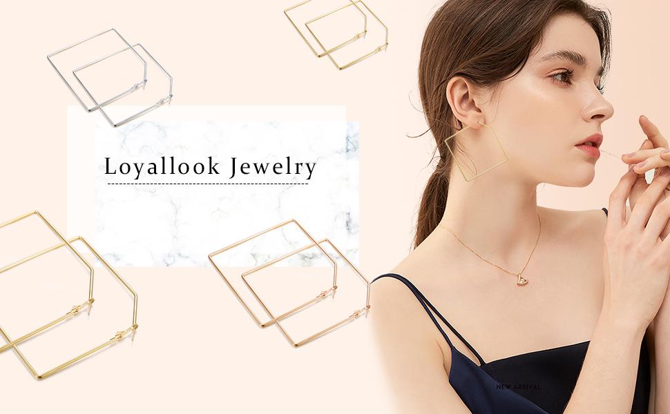 LOYALLOOK 4 Pairs Square Hoop Earrings for Women Geometric Hoop Earrings Dangle Earring Girls Large Hoop Earring Set