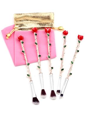 rose makeup brush set rose gold