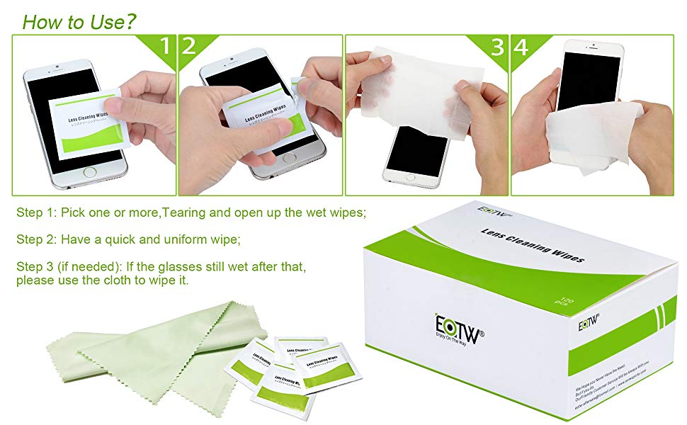 Pack of 120 EOTW Screen Cleaning Wipes Individually Wrapped for Phone iPad Tablet Laptop Computer