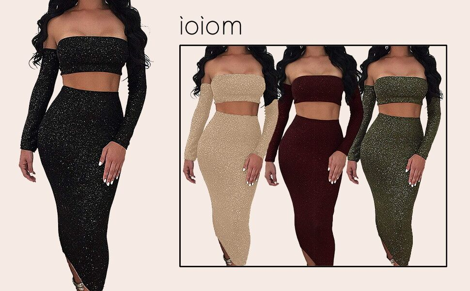 5eaff830eb320a Ioiom Women Sparkly Sexy Off Shoulder Backless Long Sleeve Lace Up Cut-Out  Bodycon Dress