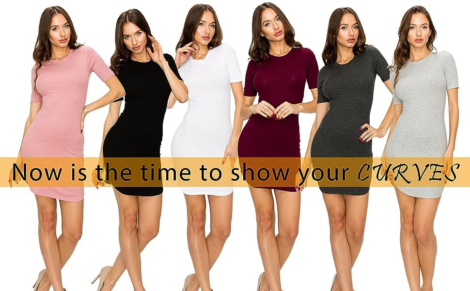 f2824c51f10 EttelLut Cocktail Sexy Club Party Dresses-Mini Rib Knit Tight Fit Women/ Juniors