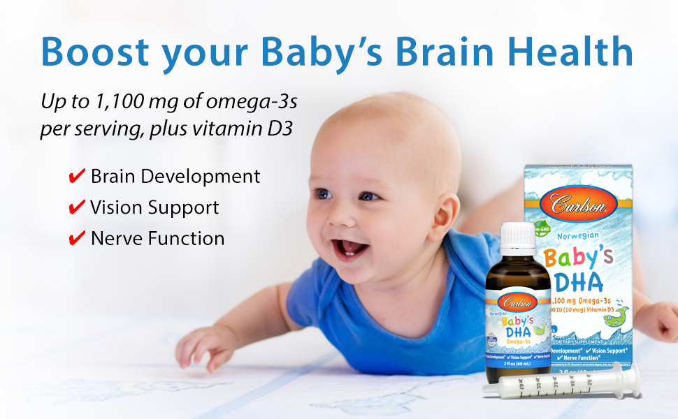 742eff387fd7 Carlson - Baby's DHA, 1100 mg Omega-3s + 400 IU Vitamin D3, Brain  Development, Vision Support & Nerve...