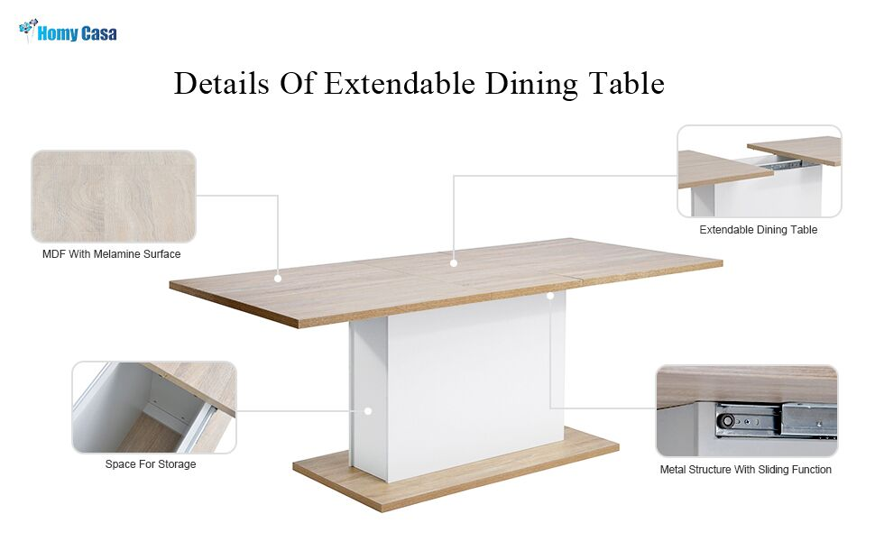 Extension Dining Table Extendable Rectangular Dining Table Multi-function Space Saving Wood Indoor Outdoor Picnic Party Dining Camp Table