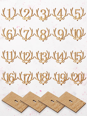 20PCS Wooden Deer-Shaped Tabletop Numbers with Holders Base Standing Antler Table Number for Wedding Party Reception Restaurants Decorations Outgeek Table Numbers