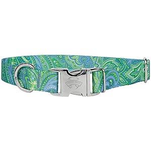 green paisley dog collar