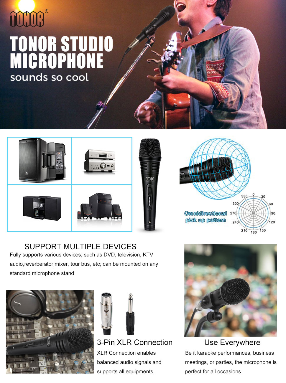 Tonor Pro Vocal Dynamic Microphone With Xlr Cable Male Audio Plug Wiring Jack Color Product Description