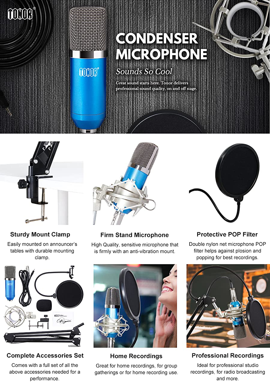 Tonor Professional Studio Condenser Microphone Computer Pc Circuit The Xrl To 35mm Adopts Exacting Complete Electronic Control And Gold Plate Diaphragm Capsule
