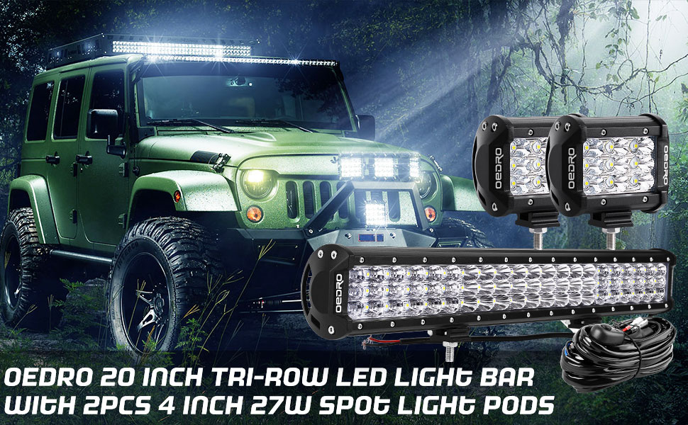 OEDRO 20inch 300W + 2x 4inch Triple Row Combo LED Light Bar w/ Wiring Harness