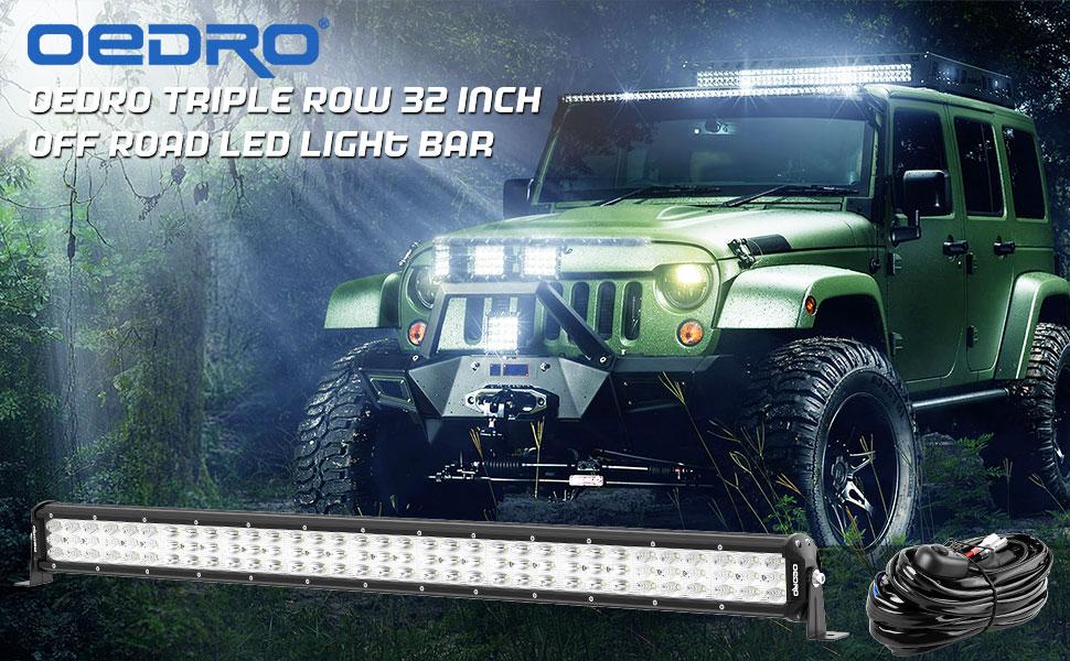OEDRO 32 inch 297W Triple Row Combo LED Off Road Light Bar w/ Wiring Harness