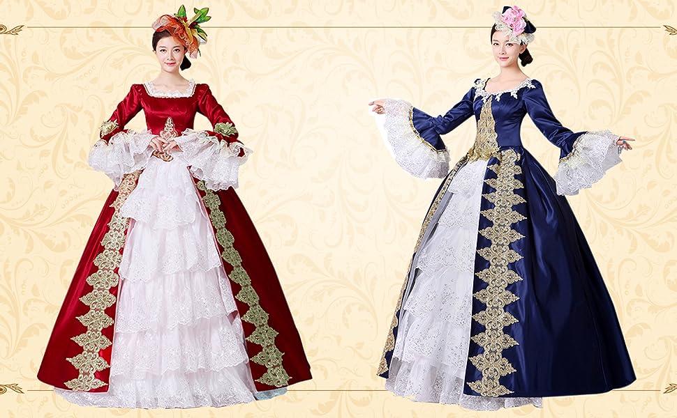 Amazon.com: Lemail Womens Victorian Era Dress Vintage Masquerade ...