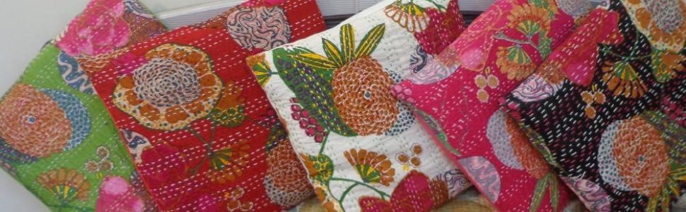 Multicolor Kantha Cushion Set 18X18 Size