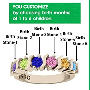 d17984e74724 CUSTOMIZED JUST FOR YOU This Mother's ring comes with your choice of 1 to 6  birthstones (simulated) that you choose prior to checkout.
