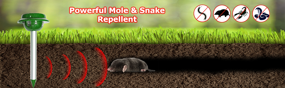 solar mole repellent garden snake repellent gopher repellent ultrasonic waterproof mole away