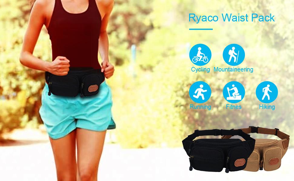 Run Canvas Running Waist Pack Bag Travel Sports Money Holder for Hiking