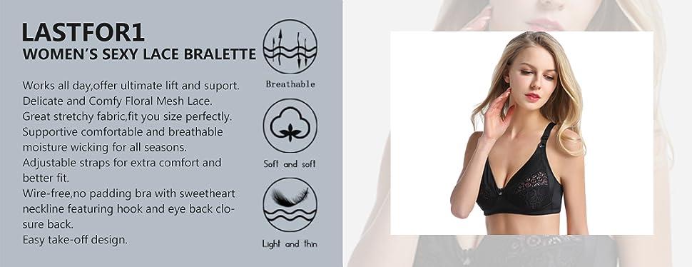 LastFor1 Women\'s Wireless Plus-Size Unpadded Everyday Bra Bralettes ...