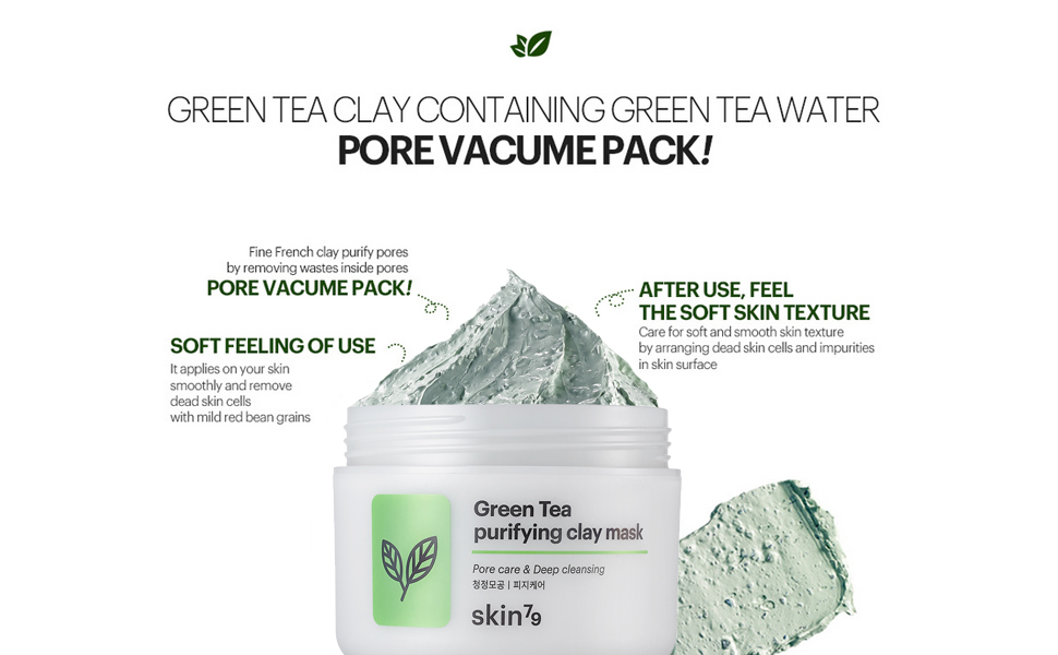 The Green Tea Purifying Clay Mask is a moist clay mask formulated with green tea water and natural scrubs to clear dead Skin Soothing and sebum.