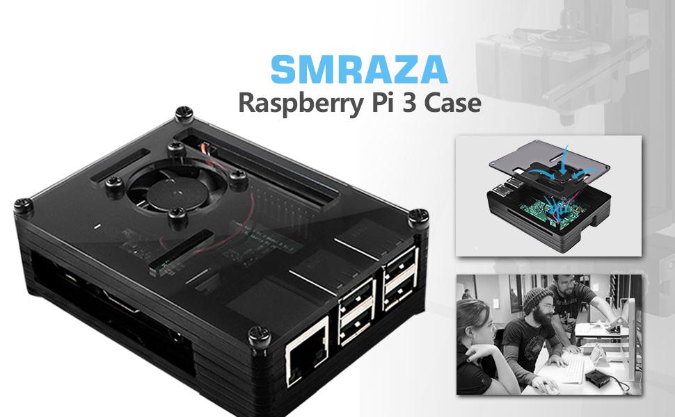 Amazon.com: smraza negro carcasa para Raspberry Pi 3 B + con ...