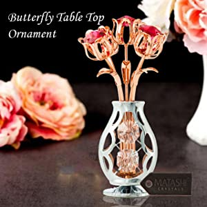 Amazon Com Matashi Rose Gold And Chrome Plated Flowers Bouquet And Vase Ornament With Crystals Home Decorative Tabletop Showpiece For Living Room Bedroom Gift For Christmas Valentine S Day Mother S Day Birthday Home