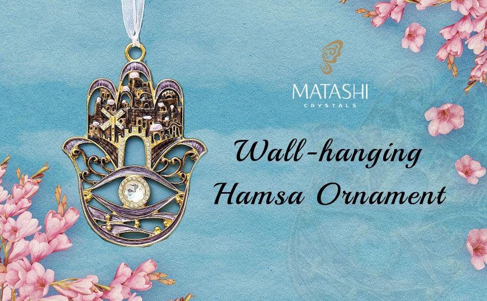 Traditional Hanging Hamsa Wall Decor Ornament w// Matashi Crystals Pewter