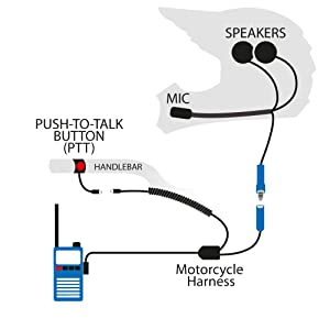 rugged radios mc-5r motorcycle helmet communication kit speakers microphone handheld  radio ptt