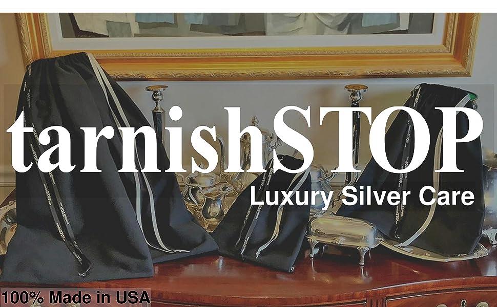 tarnishstop large logo of 3 sizes anti-tarnish bags on an antique mahogany buffet