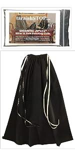 tarnishstop anti-tarnish bag and polishing cloth bundle, large