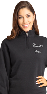 zynotti personalized custom embroidered pullover quarter zip long sleeve sweater