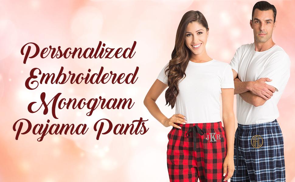 ad8af0b2af0 zynotti personalized custom customized monogram plaid drawstring flannel  pajama pj lounge pants