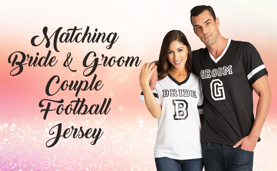 11a01a261 zynotti matching bride groom honeymoon bridal shower bachelorette party couple  football jersey