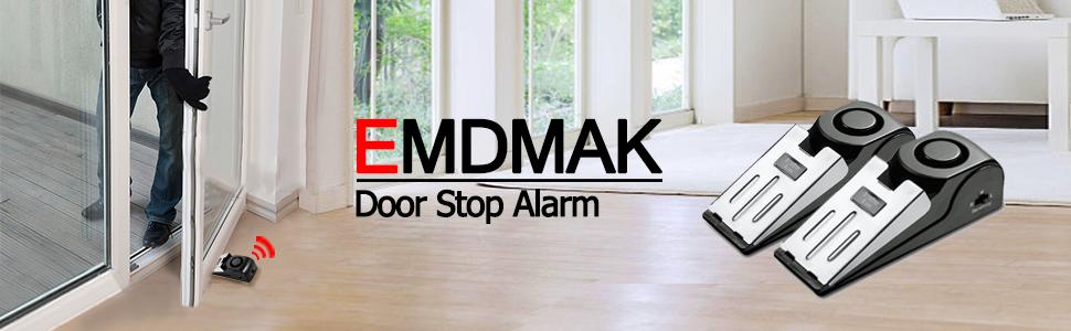 EMDMAK Door Stop Alarm with 120DB Siren Door Stop for Home & Travel (Black) (Pack of 2)