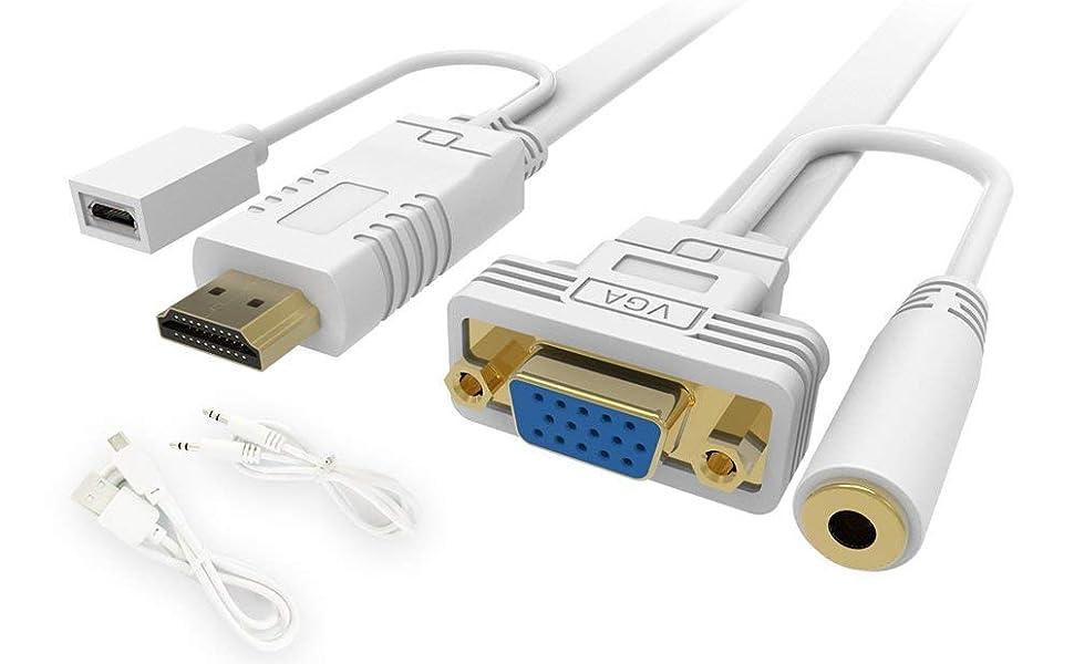 2/Pack Mini HDMI a VGA J /& D Mini HDMI a VGA Cable Adaptador convertidor