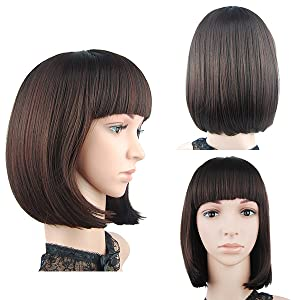 Amazon Com Enilecor Short Bob Hair Wigs 12 Straight With Flat