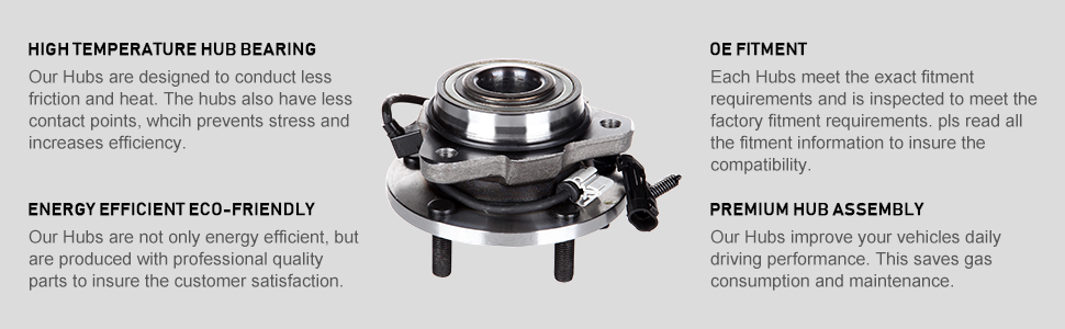 IRONTEK 513124 Front Wheel Hub Bearing Assembly 5 Lugs W//ABS for 1998-2004 Chevy GMC 4WD Only 1 PCS