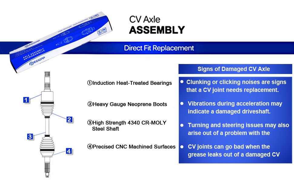 ECCPP CV Axle for 2005 2006 2007 2008 2009 Honda TRX 500//680 Foreman Front Right 1 PCComplete Shaft Assemblies