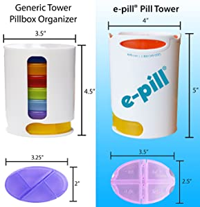e-Pill | Tower Pill Organizer, Color Coded Stacked Pill Box, 4 Daily Doses  x 7 Days, Weekly Pill