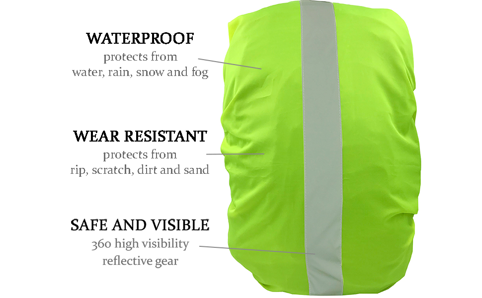Cycling Hiking Motorbike LED HI-VIS BACKPACK COVER Waterproof Weatherproof Rainproof Water Resistant Protective Safety High Visibility Reflective Durable Long lasting Rechargeable Battery Commuting For Biking Walking