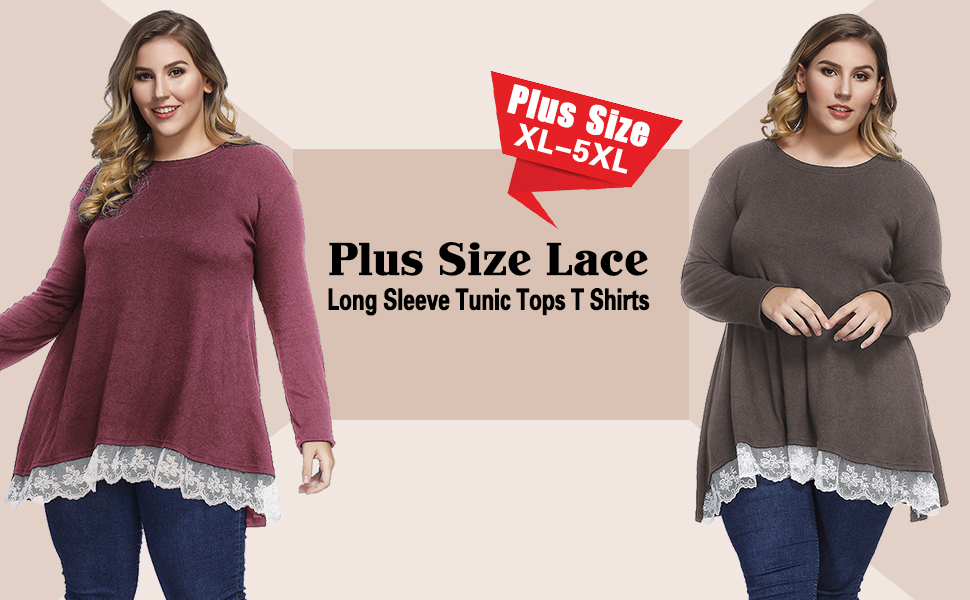 3c2852047b3 Sanifer Women Plus Size Lace Long Sleeve Tunic Tops T Shirts Blouses  (XL-5XL). Plus Size Tunics
