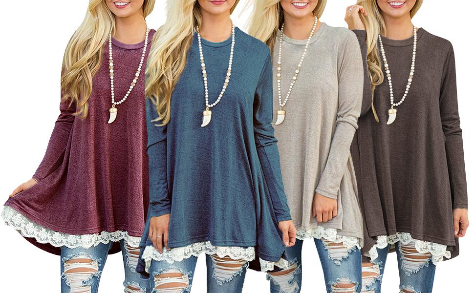 b027aa01347 Sanifer Women s Casual Loose Long Sleeve Tunic Tops For Leggings Plus Size Long  Sleeve Blouses