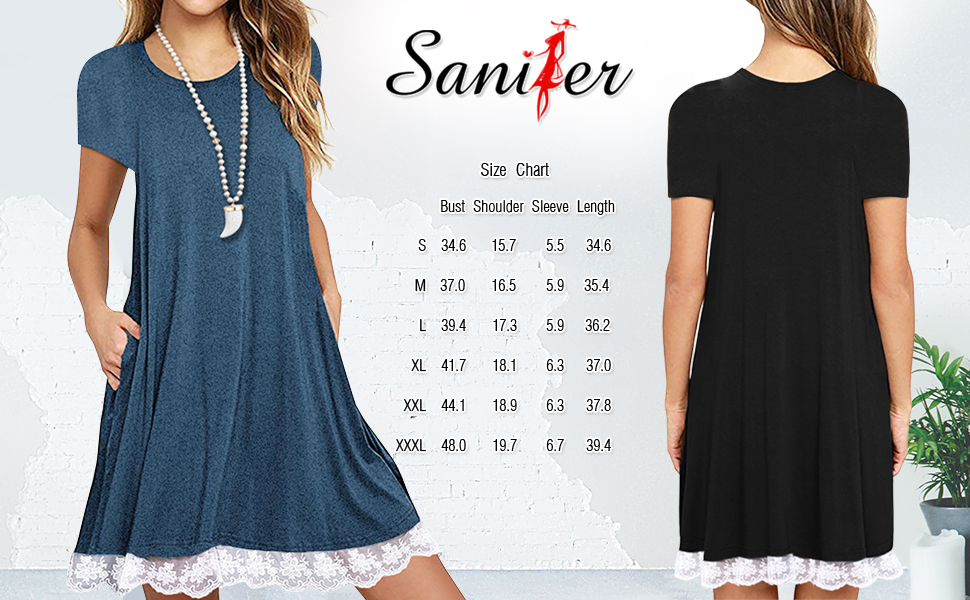 9bbb428f83f Summer Short Sleeve Lace Splicing Pocket Swing T-shirt Dress Flowy Tunic  Dress Suits For Women Juniors Teen Girls