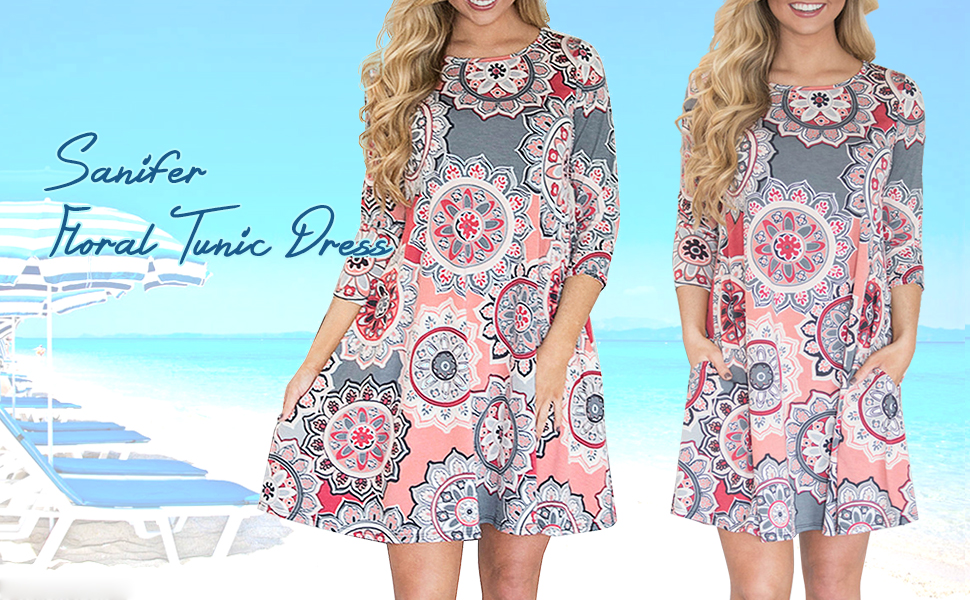 60fb83559 Sanifer Women's 3/4 Sleeve Floral Printed Boho Flowy Tunic Dress Long Tunic  Top T-Shirt Dress