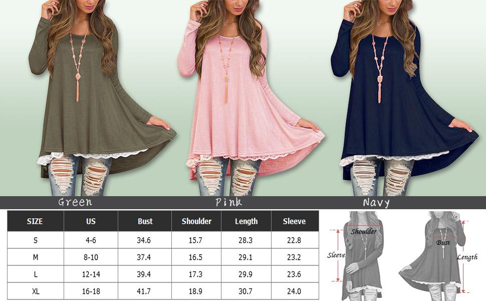 bdb0d40719de Women s Long Sleeve Lace T-Shirt Dresses Long Tunic Blouses for Juniors and  Ladies