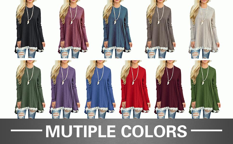 c460c1c69d2b Sanifer Women Lace Long Sleeve Tunic Top Blouse at Amazon Women s ...
