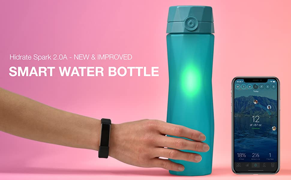 Teal Hidrate Spark 2.0A smart water bottle and iPhone X and Fitbit.