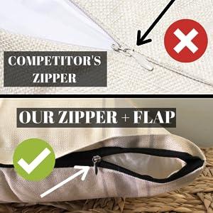 zipper flap farmhouse throw pillow cushion cover heavy duty durable made to last