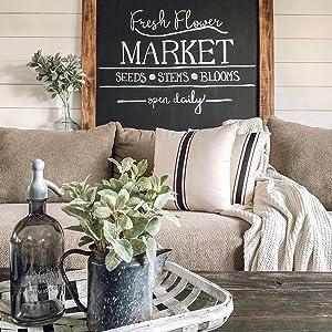 farmhouse grain sack stripe ticking black pillow cover cushion sham case farmhouse decor cottage