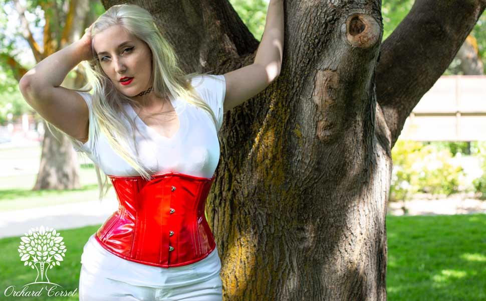 pvc vinyl corset latex cs411 waist trainer corsets for women
