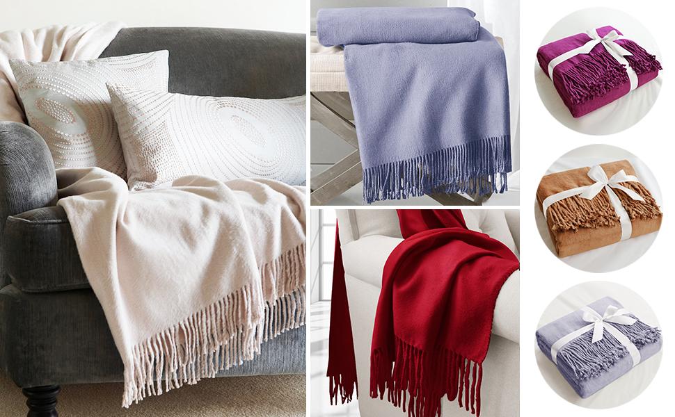 Amazon.com: ElleSilk Silk Throw Blanket, Silk Throws for Sofa Couch ...