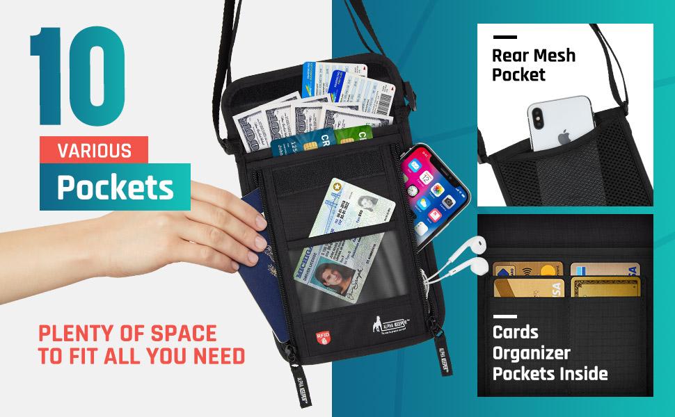 neck wallet 10 pockets